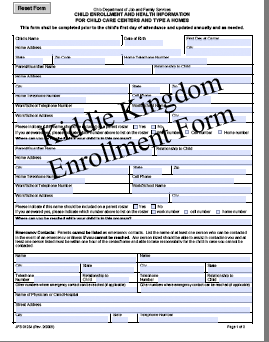 Kiddie Kingdom Country Child Care - Forms